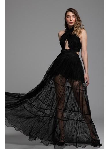 Tuba Ergin Tül Boyun Bağlamalı Maxi Dora Elbise Siyah